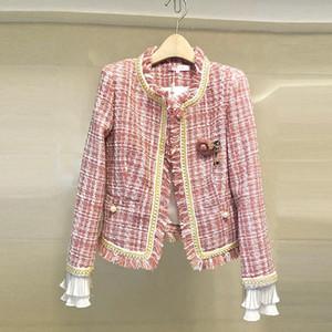 JSXDHK Qualitäts-Rosa-Plaid Frauen Tweed Overcoat 2020 Frühlings-Quaste Perlenstickerei lange Hülsen-Jacken-Mantel Fashion Runway Mäntel