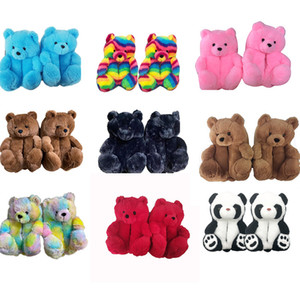 Plush Teddy Bear House Slippers Brown Women Home Indoor Soft Anti-slip Faux Fur Cute Fluffy Pink Slippers Women Winter Warm Shoes FY7486