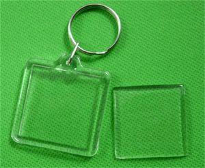 DIY Key Buckle Estúdio Acrílico Plástico Photo Frame Chaveiro Em forma de Coração Quadrado Keyring Transparente Portátil Mulheres Homens Originalidade 0 26ds M2