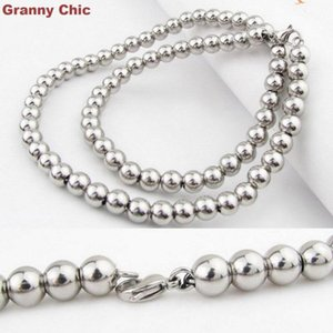 """Granny Chic 6mm 7""""-40"""" Fashion Men Womens Silver Tone Stainless Steel Round Ball Beads Necklace Handmade Jewelry"""