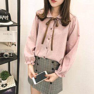 2020 New Spring Stylish Corduroy Turn-Down Collar lace up Long Sleeve Women Casual Shirt College style1