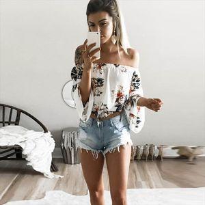 Flare Sleeve Boho Flower Print Tank Tops Elegant Off Shoulder Crop Top for Women Clothing Summer Streetwear Tees Camis