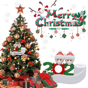 2020 Quarantine Christmas Party Decoration Gift Santa Claus With Mask Personalized Xmas Tree Ornament All Series