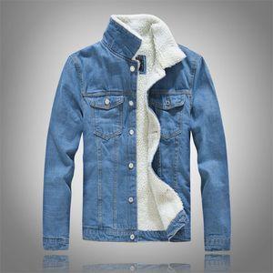 Mens Denim Jacket Модный зимний теплый флис пальто и пиджаки моды Жан куртки Мужской Cowboy Повседневная одежда Плюс Размер 6xl 7012