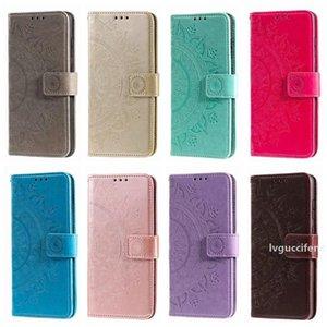 Monedero de cuero del caso para Samsung Nota 20 Pro A01 A41 A11 A21 A70E A21S A31 A81 A91 Pie de imprenta Totem Flor Datura en relieve cubierta Mandala de encaje