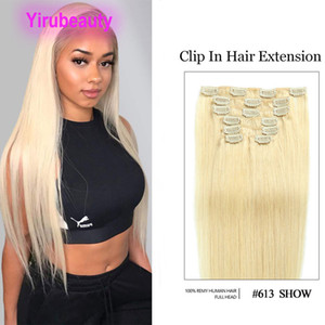 Malaysian 613# Clip-in Hair Extensions 14-24inch 70g 100g Silky Straight Blonde Color Clip On In 100% Human Virgin Hair