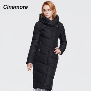 Cinemore nuevo estilo alargado chaqueta acolchada, de moda más tamaño chaqueta con capucha delgada, cálido e invierno gruesa chaqueta acolchada 201026