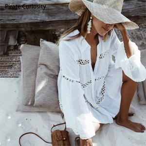 PIRATE CURIOSISSOSITÀ DONNA UP SCAVA OUT SUN Protezione solare Abbigliamento Costume da bagno Giacca Flare Sleeve Beach Outer Wear Wear Lace White Shirt 201029