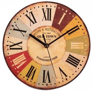 العتيقة ساعة خشبية ساعة الزخرفية ساعة الحائط الإبداعية المنزل المعيشة غرفة نوم وغرفة شنقا الساعات 9 الألوان