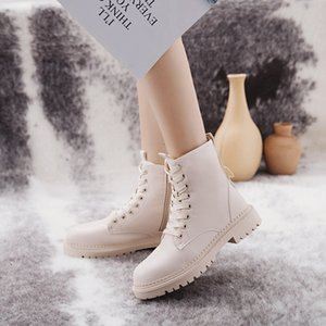 COOTELILI Fashion Zipper Flat Shoes Woman High Heel Platform PU Leather Boots Lace up Women Shoes Ankle Boots Girls 35-40 201109