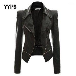 YYFS 2020 Otoño Mujeres Faux Chaqueta de cuero gótico Negro Moto Chaqueta Cremalleras Manga larga Gótica PU Faux de cuero Chaquetas1