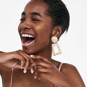 Серьги Drop Dishcly Серьги преувеличение Геометрия трапециевидной глазурью мода ювелирные изделия женщины ретро ушные шпильки длинные висячие капли серьги 1 98cs g2b