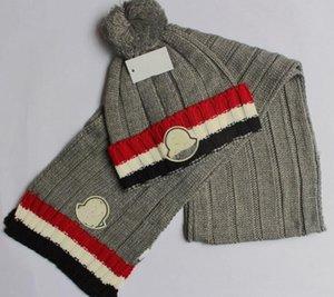 Donne e uomini inverno caldo cappello e sciarpa a righe Set Moda Femminile Cappello della sciarpa del solido Pom pom HatScarf Set per le donne lavorato a maglia Berretti