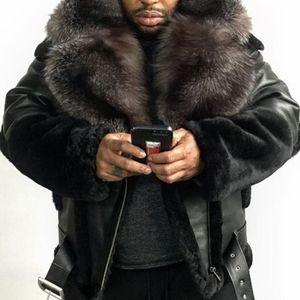 Plus Size Leather Jacket Men Winter Fashion Fur Lapel Collar Belt Casual Solid PU Long Sleeve Mens Coat Lugentolo