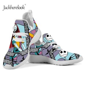 Jackherelook Fashion Women's Tenis Shoes the Nightmare Before Christmas Mesh Shoes Breathable Male's Lace up Sneakers Zapatos