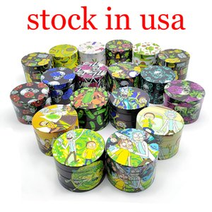 Stock en US 120 / Box Sharpstone Herb Grinder Métal Zinc Alliage Tabac Grinders à base de plantes 4 couches 40/50 / 55 / 63mm Diamètre 6Couleurs