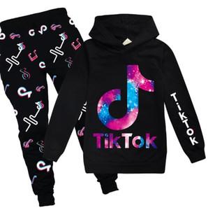 Tik Tok due pezzi degli insiemi dei vestiti delle ragazze dei ragazzi per Primavera Autunno per bambini con cappuccio Felpe Pantaloni adolescenti Tute Outfits