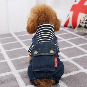 Dog Sweater Autumn Winter Casual Clothes For Small Medium Dog Cats Hoodies Warm Sweatshirts CoatStriped denim overalls Shirt Clothing