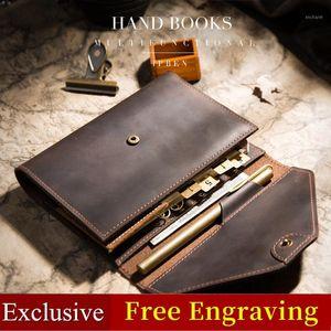Genuine Leather Notebook Schoy Diário Handmade Multifuncional Sketchbook Planejador A6 Bloco de Notas Jornal Papelaria Docente Agenda Presente 20201