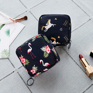 Cosmetic Mini Bag Floral Toiletry Organizer Up Travel Flamingo 1pc Make Beauty Napkin Storage Bag Cosmetic Case Solid Makeup Tkcpm