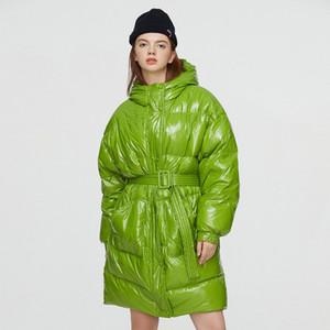 벨트 방수 빛나는 외투와 Janveny 겨울 여성 2020 롱 파카 복어 깃털 코트 90 % 아래로 오리 재킷