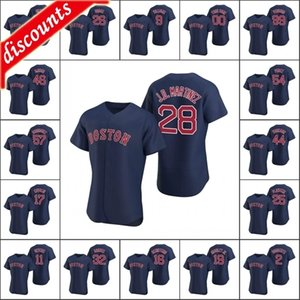 Boston \ Rred Sox homens # 2 Xander Bogaerts 32 Matt Barnes 34 David Ortiz 28 J.D. Martinez Mulheres Personalizadas Juventude Authentic 2020 Alternate Jersey
