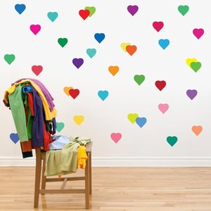 24pcs set Removable Rainbow Color Love Hearts Peach Pattern Labels Sticker Home Decoration Accessories for Living Room