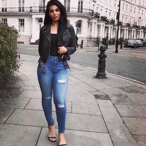 Alto cintura skinny jeans lápis buraco buraco elasticidade rasgado jeans cool tornozelo comprimento mulheres jean plus size top shop jeans a1119