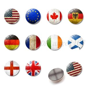 Bandera decorativa Frigorífico Imanes de los Estados Unidos 30 mm Cúpula 9 Estilo Memo Souvenir Creative Glass Decoration Refrigerator Home VQQBD