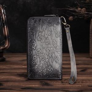 Heißen Verkauf-neues Design Vieh Männlich Organizal Arbeiten Sie echten Leder-Kartenhalter-Scheckheft-Reißverschluss um Mappe Geldbeutel-Kupplungs-Handtasche