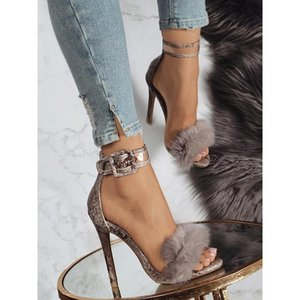 Aneikeh Women Sandals High Heels Footwear Fur Ankle Strap Gladiator Sandals Female Wedding Sexy Shoes Stiletto