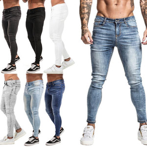 Gingtto Jeans Hombres Cintura Elástica Pasantes Pegantes Hombres 2020 Pantalones Romificados Estirar Streetwear Mens Denim Blue1