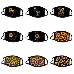 3D Dijital Baskı Ağız Kapak Moda Ayçiçeği Yüz Maskeleri Yıkanabilir Kullanımlık Ağız Maskesi Nefes Anti-Toz Pamuk Maske HWC3807