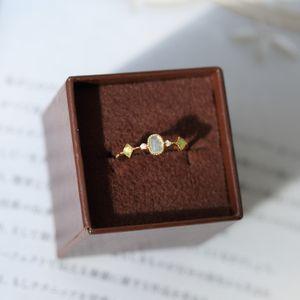Anello di fascino argento S925 con natura Diamante e pietra per le donne Ragazza Amico Gioielli Regalo PS8901