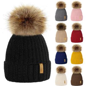 2020 Parent Child Hats Warm Winter Pompom Knitted Beanie Caps Women Baby Girls Boy Fur Pom Hat Ski Snow Cap