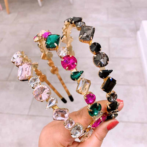 Fascino di cristallo di fascino per le donne Colorful Stud Headband Hairband Shiny Bling Rhinestone Hair Band Banda Gioielli Accessori HHE568