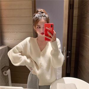 Women Sweater Spring Autumn V Neck Long Sleeve Short Knitted Jacket White Black Cardigan Sweater Warm Cardigan Plus Size jumper