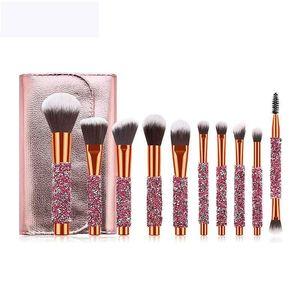 10pcs Rose golden Glitter Handle crystal diamond foundation brush set with PU bag makeup brushes