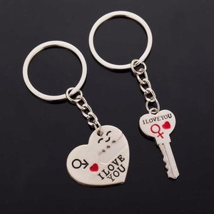 Cgjxs 2 Pcs  Set Fashion Heart Key Ring Silver Color Letter I Love You Couple Key Chain Key Heart Shape Jewelry Valentines Day Gift