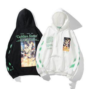 Moda de verano para hombre del diseñador sudaderas Off Negro Más blanco Rap Impreso con capucha unisex con capucha Mujeres Casual Streetwear Harajuku suéteres con capucha