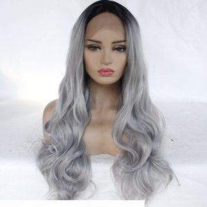 No Bad Smell Front Lace T Color Black Gray Gradient Wig Womens Dyed Long Curly Hair Large Wavy Roll Chemical Fiber Wig Turecolor Wig
