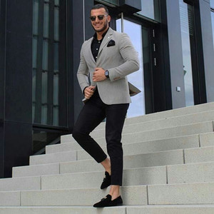 Classy Grey Men Business Suits for Groom Tuxedo 2Piece Bridegroom Outfit Slim Fit Terno Masculino Man Attire Groomsmen Blazers Costume Homme
