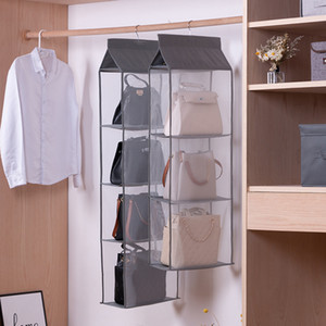 Wardrobe hanging organizer Tote bag hanging storage bag handbag organizer in the closet mesh purse handbag wardrobe organizer LJ201125