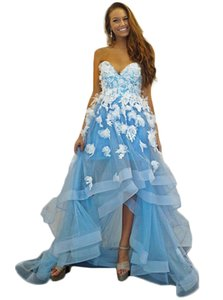 Sky Blue Evening Dresses Lace Floral Sweet Heart Prom Gown Custom Made Hi Lo Party Dresses