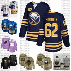 2021 Retro Retro Personalizar # 62 Brandon Montour Buffalo Sab Herseys Golden Edition Camo Veteranos Día Fights Cancer Hockey Jersey