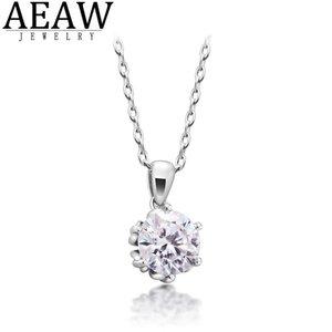 Aeaw 1.2ct 7.0mm EF rond 18K blanc plaqué or blanc 925 collier moissanite cross diamond test passé bijoux femme fille cadeau