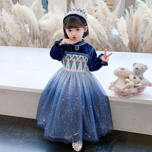 9cda Valentine039;s Round Princess Dresses for Cartoon Print Denim Brand Neck Kids Dress Children 2020 Day Love Heart Printedclothe