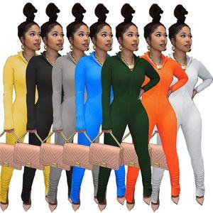 Frauen Jumpsuit Strampler Langarm Lange Hose Spielanzug Einteiler Pant Mode Print Slim Hose V-Ausschnitt Herbst Frauen Kleidung Klw2718