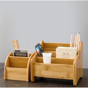 Bamboo desk box office pencil holder Living room remote control storage shelf table organizer Makeup Pen rack Z1123