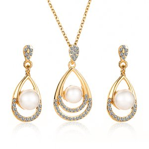 New Hot Fashion Bride Wedding Party Simulated-pearl Crystal Water Drop Chokers Necklace Drop Earrings For Women Jewelry Set